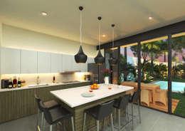 Cocina : Cocinas de estilo moderno por Heftye Arquitectura