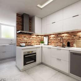 Cozinha A+M: Armários e bancadas de cozinha  por Pratique Arquitetura