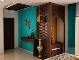 Asian classic style Foyer with Puja area:  Corridor & hallway by NVT Quality Build solution