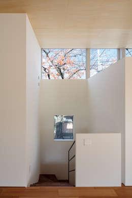 桜並木と暮らす家: 設計事務所アーキプレイスが手掛けた窓です。