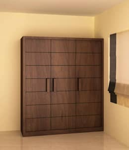 Wardrobe with openable style shutter: modern Bedroom by NVT Quality Build solution