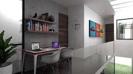Estudio en pasillo.: Pasillos y recibidores de estilo  por Heftye Arquitectura
