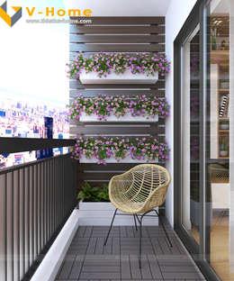 Chung cư Golden Field, Mỹ Đình, Từ Liêm, Hà Nội:  Hiên, sân thượng by Công ty CP Kiến trúc V-Home
