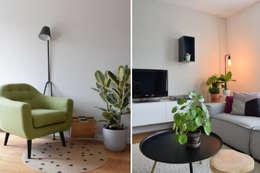 Verschillende hoekjes in huis: scandinavische Woonkamer door Atelier09