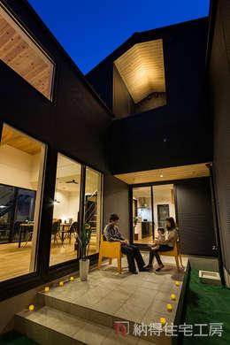光と風の通り道。緑が映える高原リゾート風ハウス: 納得住宅工房株式会社 Nattoku Jutaku Kobo.,Co.Ltd.が手掛けた庭です。