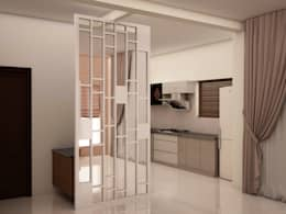 Router cut mirror design partition : modern Dining room by NVT Quality Build solution