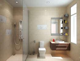 Các không gian mang tính kết nối giữa màu sắc và chi tiết trang trí.:  Phòng tắm by Công ty TNHH Thiết Kế Xây Dựng Song Phát