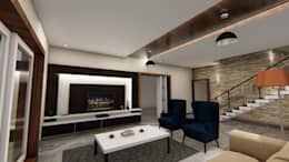 Living Hall TV Unit: modern Living room by Cfolios Design And Construction Solutions Pvt Ltd