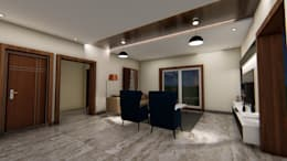 Hanging Lights at living Room: modern Living room by Cfolios Design And Construction Solutions Pvt Ltd