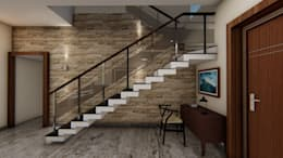 Staircase Design with wall cladding:  Walls & flooring by Cfolios Design And Construction Solutions Pvt Ltd