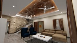 Ceiling Look: modern Living room by Cfolios Design And Construction Solutions Pvt Ltd