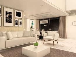 Sofá branco e ao fundo papel de parede: Salas de estar modernas por Janete Krueger Arquitetura e Design