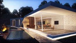 Fachada : Casas de estilo moderno por síncresis arquitectos