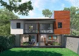 Vista Fachada Jardín: Casas unifamiliares de estilo  por Fi Arquitectos