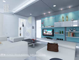 LIVING ROOM:   by daksaja architects and planners