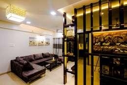 DR.VENKATESH AND DR.MADHUSHREE: modern Living room by PSQUAREDESIGNS