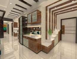 2bhk Flat Interior @Merlin Residency Rajarhat Kolkata : modern Living room by Creazione Interiors