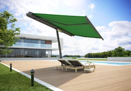 markilux planet mit Tuchdessin 30106: moderner Balkon, Veranda & Terrasse von markilux