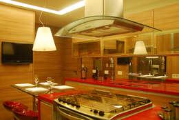 ILHA DE CUCÇÃO: Armários e bancadas de cozinha  por Fabio Gamboa Arquitetura