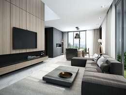 3BHK: modern Living room by Rebel Designs