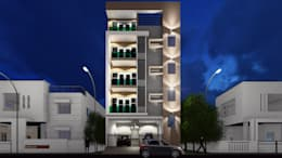 Night View:  Multi-Family house by Cfolios Design And Construction Solutions Pvt Ltd