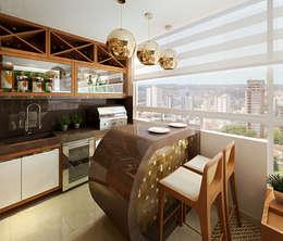 Área Gourmet: Terraços por Letícia Damasceno Arquitetura de Interiores
