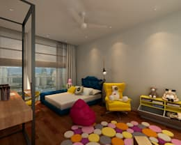 Modern Industrial Condo. 3D: modern Bedroom by inDfinity Design (M) SDN BHD