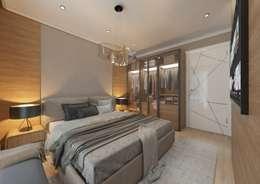 50GR Mimarlık – Cadde varlık_ 1+1 örnek daire: modern tarz Yatak Odası