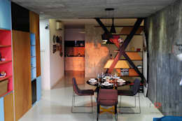 Industrial Contemporary condo: industrial Dining room by inDfinity Design (M) SDN BHD