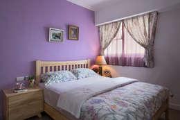 市區45年老屋華麗轉身 恬靜鄉村風:  臥室 by 采荷設計(Color-Lotus Design)