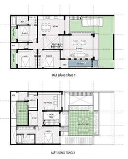 Bản vẽ thiết kế nhà phố 2 tầng đẹp:  Nhà gia đình by Công ty TNHH Xây Dựng TM – DV Song Phát
