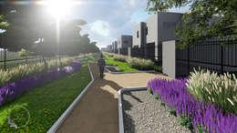 detalle parque: Jardines en la fachada de estilo  por Verde Lavanda