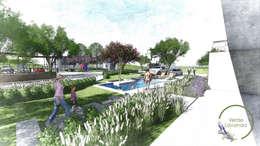 casa club: Jardines en la fachada de estilo  por Verde Lavanda