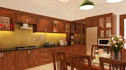 Mẫu Thiết Kế Nhà Phố 4 Tầng 4,3x20m Kết Hợp Ở Và Kinh Doanh:  Tủ bếp by Công ty TNHH Xây Dựng TM – DV Song Phát
