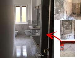 Ristrutturazione bagno con l'utilizzo del gres porcellanato effetto marmo Calacatta:  in stile  di Anna Franceschi Architetto & Home stager