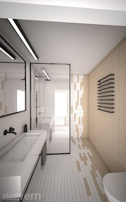 Interieurontwerp 3D impressie badkamer strak en minimalistisch: minimalistische Badkamer door Studio-em