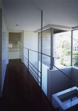 ひばりが丘、ギャラリーを意識した住まい、杉板化粧型枠コンクリート打ち放し外壁: JWA,Jun Watanabe & Associatesが手掛けた階段です。