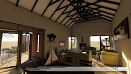 House Snyman: country Living room by Property Commerce Architects