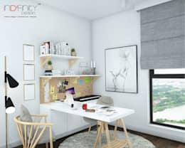 Scandinavian Design . Condominium: scandinavian Study/office by inDfinity Design (M) SDN BHD