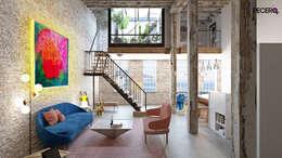 SALÓN EXCLUSIVO LOFT: Salones de estilo moderno de La Pecera Estudio Creativo