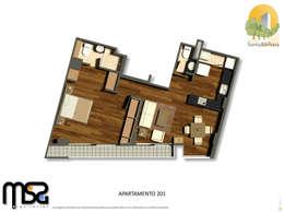 Apartamento tipo 2 genérico: Casas de estilo moderno por MSA Arquitectos