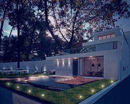 會所夜景:  庭院池塘 by 勻境設計 Unispace Designs
