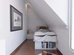 Scandinavian Home Office and Bedroom:  Bedroom by SARAÈ Interior Design