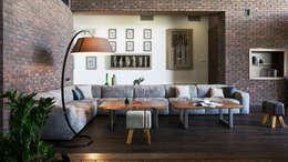 Загородный дом в посёлке Солнечный : Гостиная в . Автор – Архитектурная студия Чадо