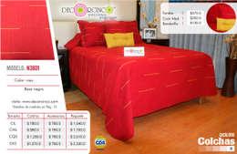 CONJUNTO DE COLCHA MAS COJINES (ARTESANÍA TEXTIL DE ALGODÓN): Hoteles de estilo  por DECORCINCO DISEÑO ARTESANAL TEXTIL; CORTINAS, COLCHAS, COJINES, MANTELES Y COMPLEMENTOS