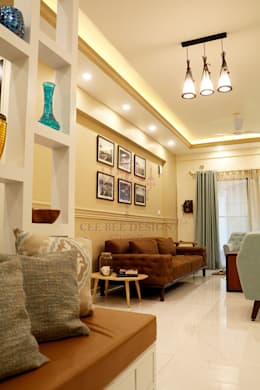 2 BHK Apartment of Mr Santosh Nambiath Bangalore: country Living room by Cee Bee Design Studio