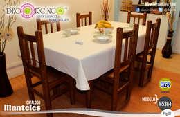 MANTEL RECTANGULAR  MEDIANO 8 SILLAS: Comedor de estilo  por DECORCINCO DISEÑO ARTESANAL TEXTIL; CORTINAS, COLCHAS, COJINES, MANTELES Y COMPLEMENTOS
