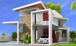 Red Bricks-Modern Villa:  Villas by TRIANGLE HOMEZ