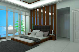 Master bedroom in White: minimalistic Bedroom by TRIANGLE HOMEZ