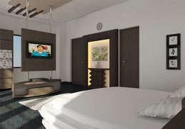 INTERIOR OF MASTERBEDROOM: modern Bedroom by Monoceros Interarch Solutions